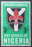 Poštovní známka Nigérie 1965 Skautské hnutí, 50. výročí Mi# 161