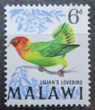 Poštovní známka Malawi 1968 Agapornis růžohlavý Mi# 96