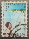 Poštovní známka Zambie 1964 Prezident Kaunda a Viktoriiny vodopády Mi# 15