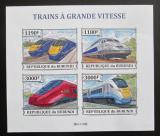 Poštovní známky Burundi 2013 Vysokorychlostní lokomotivy neperf. Mi# 3328-31 B