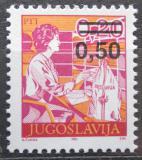 Poštovní známka Jugoslávie 1990 Poštovní úřednice přetisk Mi# 2437