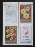 Poštovní známky Jugoslávie 1990 Květiny, daňové Mi# 180-82
