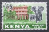 Poštovní známka Keňa 1963 Sloni před hotelem Mi# 10