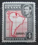 Poštovní známka Britská Guiana 1952 Mapa Jižní Ameriky Mi# 178