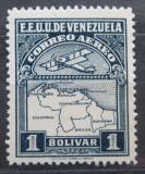 Poštovní známka Venezuela 1930 Letadlo a mapa Mi# 126