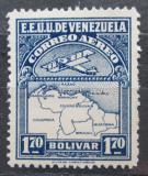 Poštovní známka Venezuela 1930 Letadlo a mapa Mi# 128