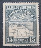 Poštovní známka Venezuela 1930 Letadlo a mapa Mi# 122