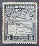 Poštovní známka Venezuela 1932 Letadlo a mapa Mi# 171
