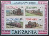Poštovní známky Tanzánie 1985 Lokomotivy neperf. Mi# Block 44 B Kat 7€