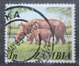 Poštovní známka Zambie 1975 Nosorožec dvourohý Mi# 141