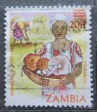 Poštovní známka Zambie 1985 Žena s houbami přetisk Mi# A 340