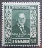 Poštovní známka Island 1952 Prezident Sveinn Björnsson Mi# 282