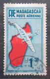 Poštovní známka Madagaskar 1935 Letadlo a mapa Mi# 216