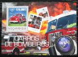 Poštovní známka Mosambik 2014 Hasičská auta Mi# Mi# Block 974 Kat 10€