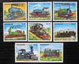 Poštovní známky Paraguay 1983 Lokomotivy s kupónem 1 Mi# 3579-85