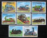 Poštovní známky Paraguay 1983 Lokomotivy s kupónem 2 Mi# 3579-85