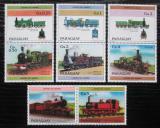 Poštovní známky Paraguay 1984 Lokomotivy s kupónem 1 Mi# 3779-85