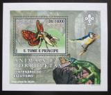 Poštovní známka Svatý Tomáš 2007 Motýli a jejich nepřátelé DELUXE Mi# 3011 Block