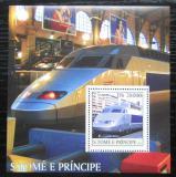 Poštovní známka Svatý Tomáš 2003 Moderní lokomotivy Mi# Block 470 Kat 11€