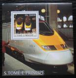 Poštovní známka Svatý Tomáš 2003 Lokomotivy Eurostar Mi# Block 472 Kat 11€
