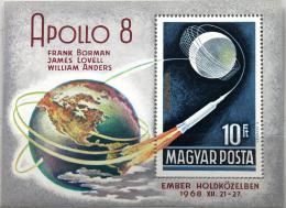 Poštovní známka Maďarsko 1969 Projekt Apollo 8 Mi# Block 68 - zvětšit obrázek
