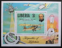 Poštovní známka Libérie 1979 Rowland Hill, letadlo Mi# Block 93 - zvětšit obrázek