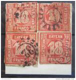 Poštovní známky Bavorsko 1862 Nominál na papíře Mi# 13 Kat 480€