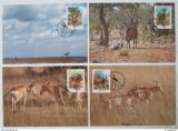 Maxikarty Mozambik 1991 Antilopy, WWF 108 Mi# 1231-34