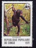 Poštovní známka Kongo 1978 Šimpanz, WWF F23 Mi# 633
