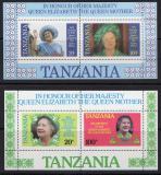 Poštovní známky Tanzánie 1985 Královna Matka Mi# Block 42-43