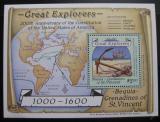 Poštovní známka Svatý Vincenc Gren. Bequia 1988 Velké objevy Mi# Block 9