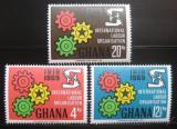 Poštovní známky Ghana 1970 ILO, 50. výročí Mi# 386-88