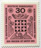 Poštovní známka Německo 1967 Setkání německých protestantů Mi# 536