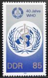 Poštovní známka DDR 1988 WHO, 40. výročí Mi# 3214