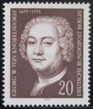 Poštovní známka Západní Berlín 1974 Knobelsdorff, malíř Mi# 464