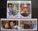 Poštovní známky Svatý Vincenc Gren 1986 Královská svatba Mi# 497-500