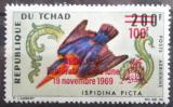 Poštovní známka Čad 1970 Pták, přetisk Apollo XII Mi# 303