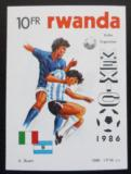 Poštovní známka Rwanda 1986 MS ve fotbale neperf. Mi# 1343 B