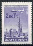 Poštovní známka Maďarsko 1968 Letadlo nad městem Mi# 2421