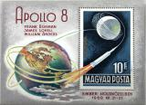 Poštovní známka Maďarsko 1969 Projekt Apollo 8 Mi# Block 68