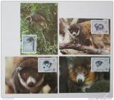 Maxikarty Komory 1987 Lemur mongoz, WWF 048 Mi# 792-95