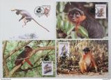Maxikarty Guinea-Bissau 1992 Opice, WWF 135 Mi# 1185-88