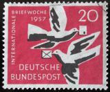 Poštovní známka Německo 1957 Poštovní holuby Mi# 276