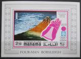 Poštovní známka Manáma 1971 ZOH Sapporo, čtyřbobob neperf. Mi# 395 B