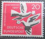 Poštovní známka Německo 1957 Poštovní holubi Mi# 276