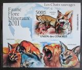 Poštovní známka Komory 2011 Kočkovité šelmy neperf. Mi# 3058 B Block