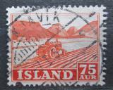 Poštovní známka Island 1952 Traktor na poli Mi# 275