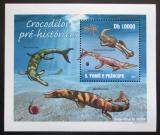 Poštovní známka Svatý Tomáš 2010 Prehistoričtí krokodýli Mi# 4301 Block