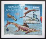 Poštovní známka Svatý Tomáš 2010 Prehistoričtí krokodýli Mi# 4306 Block