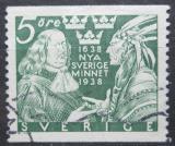 Poštovní známka Švédsko 1938 Guvernér Printz a indián Mi# 245 A